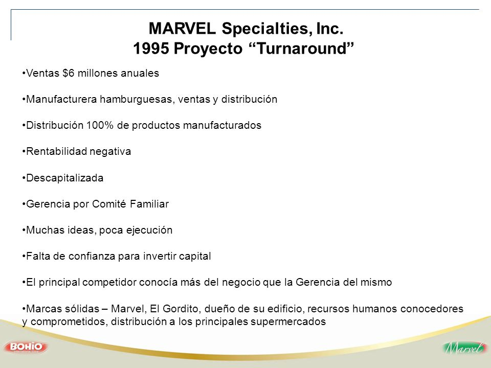 MARVEL Specialties, Inc. 1995 Proyecto Turnaround