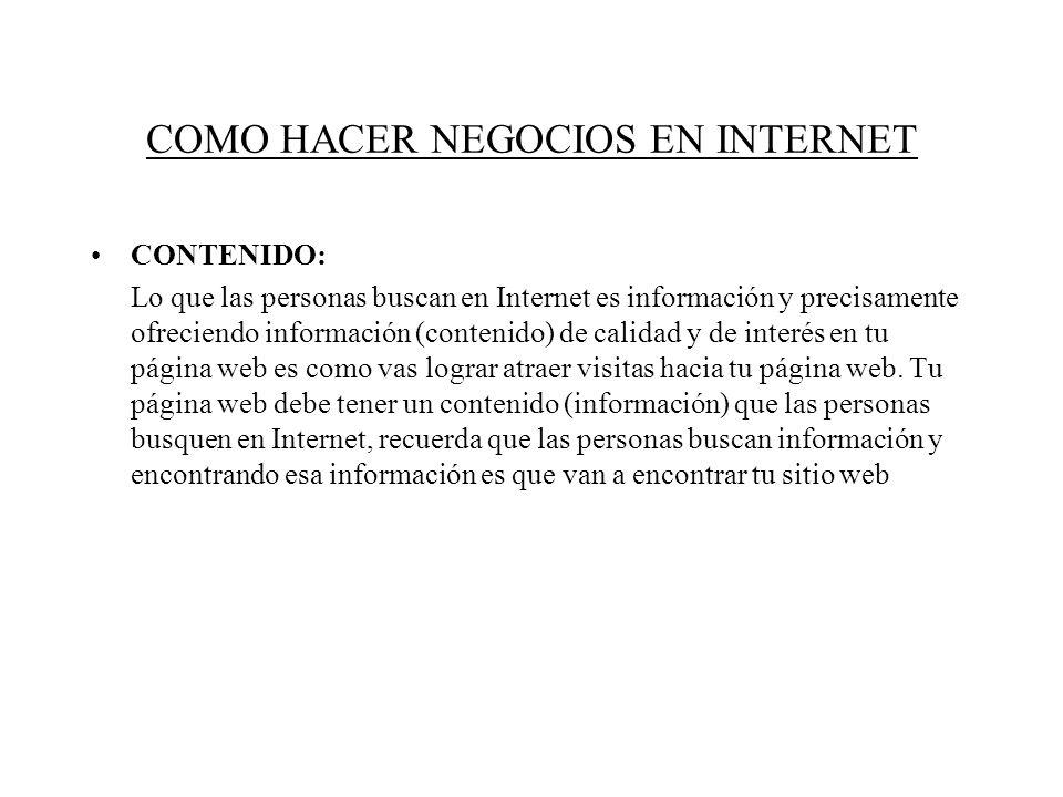 COMO HACER NEGOCIOS EN INTERNET