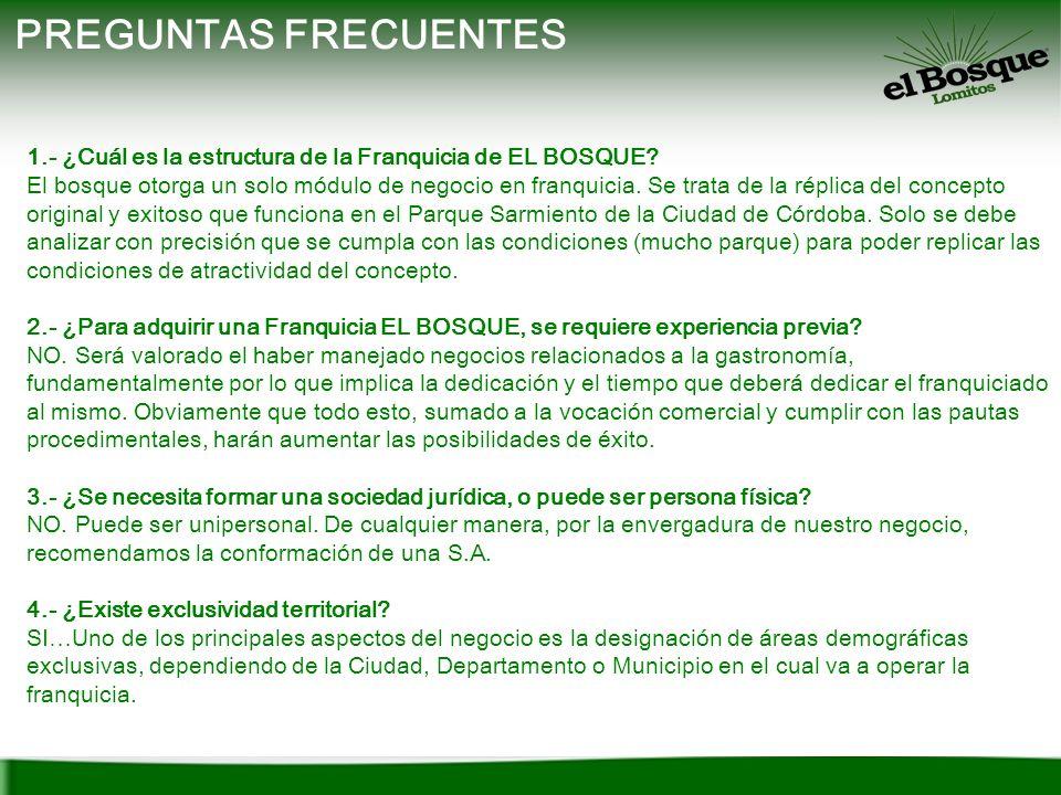 PREGUNTAS FRECUENTES 1.- ¿Cuál es la estructura de la Franquicia de EL BOSQUE