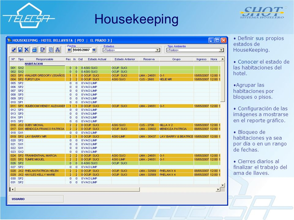 Housekeeping Definir sus propios estados de HouseKeeping.
