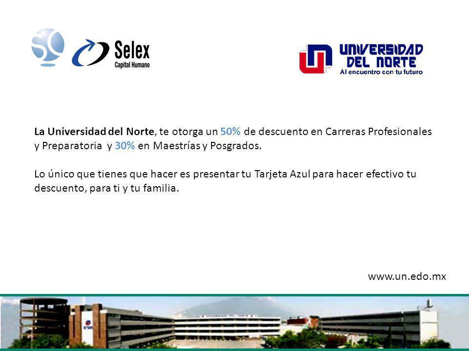 La Universidad del Norte, te otorga un 50% de descuento en Carreras Profesionales y Preparatoria y 30% en Maestrías y Posgrados.