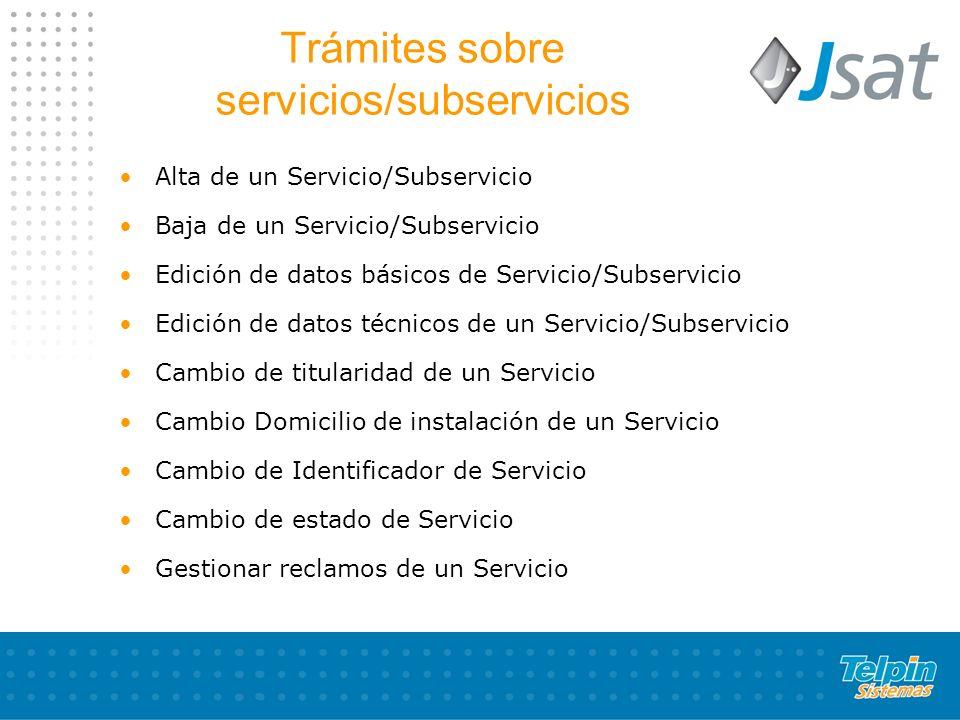 Trámites sobre servicios/subservicios