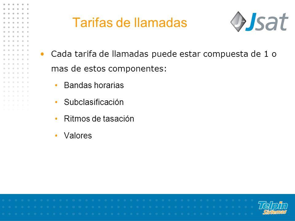 Tarifas de llamadas Cada tarifa de llamadas puede estar compuesta de 1 o mas de estos componentes: Bandas horarias.