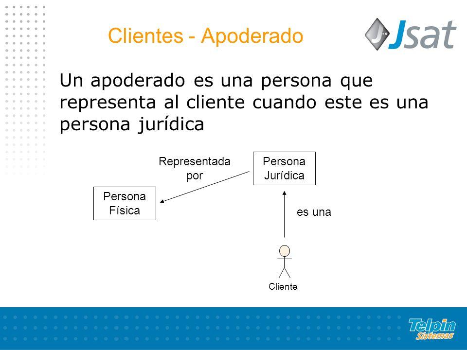 Clientes - Apoderado Un apoderado es una persona que representa al cliente cuando este es una persona jurídica.