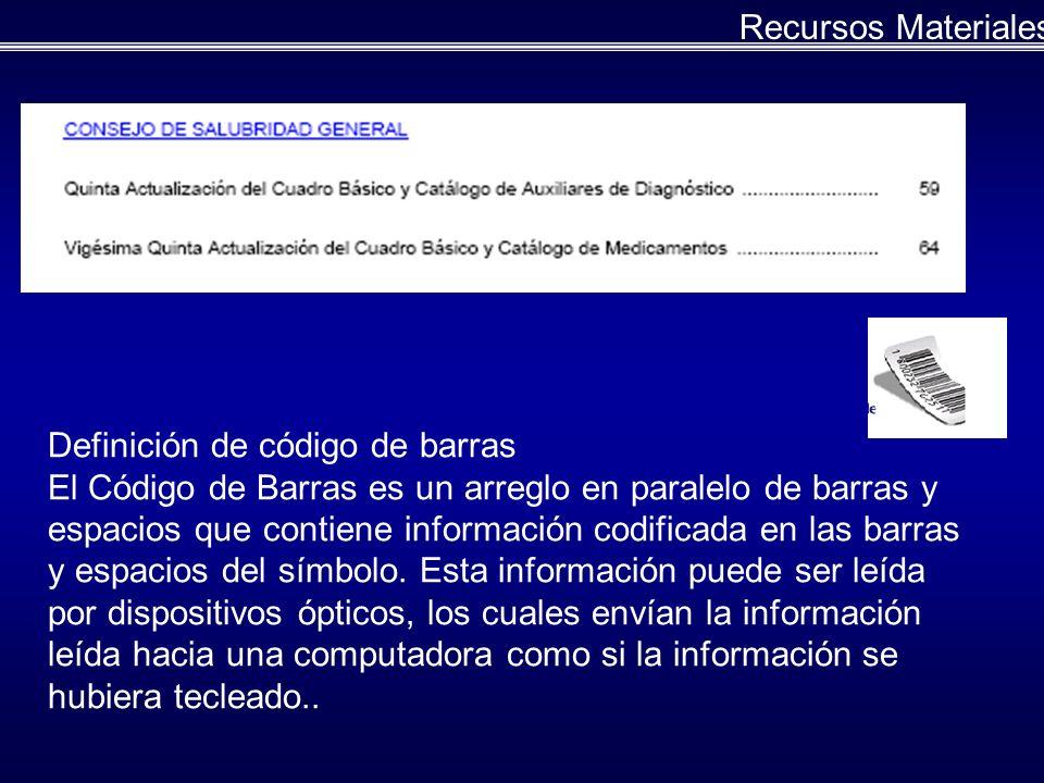 Recursos Materiales Definición de código de barras.