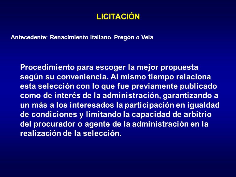 LICITACIÓN Antecedente: Renacimiento Italiano. Pregón o Vela.