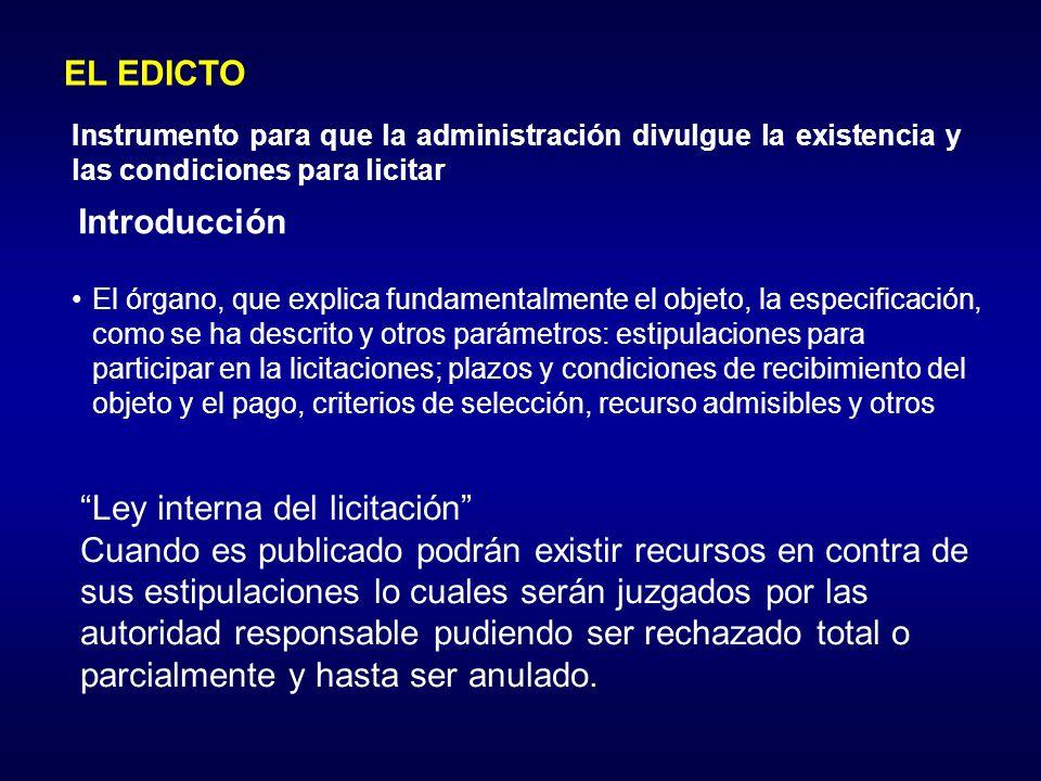 Ley interna del licitación