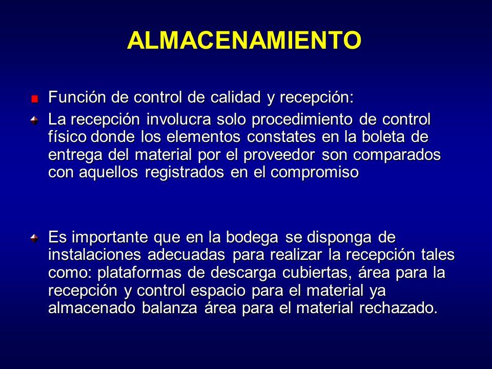 ALMACENAMIENTO Función de control de calidad y recepción: