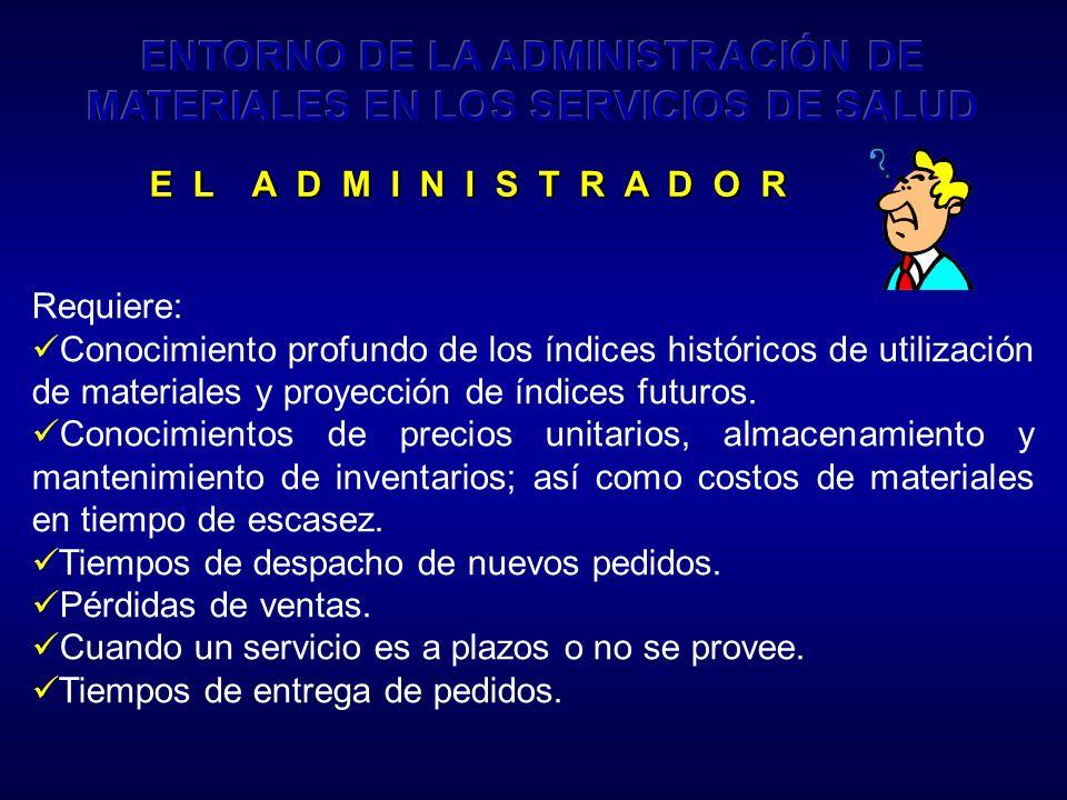 ENTORNO DE LA ADMINISTRACIÓN DE MATERIALES EN LOS SERVICIOS DE SALUD