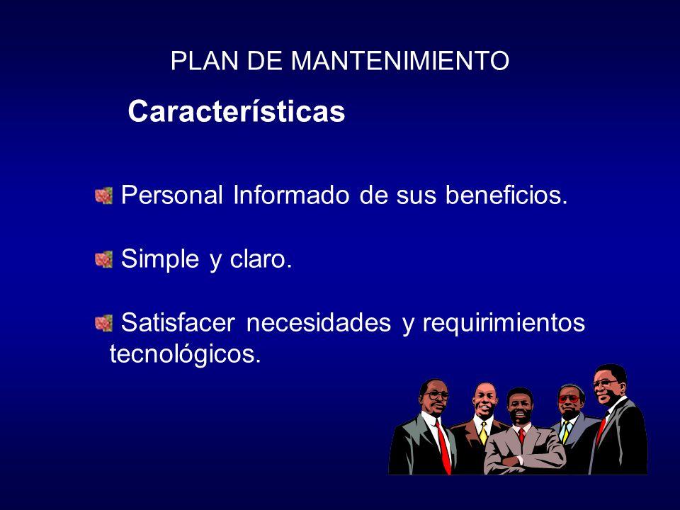 Características PLAN DE MANTENIMIENTO