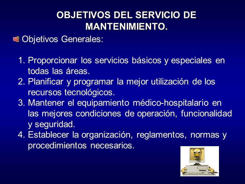 OBJETIVOS DEL SERVICIO DE MANTENIMIENTO.