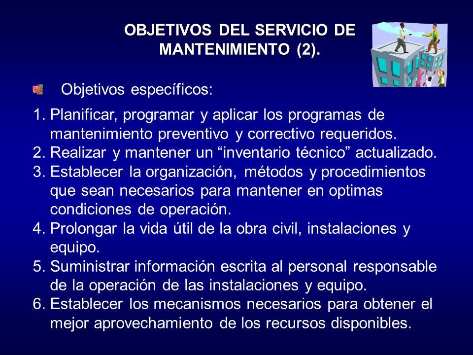 OBJETIVOS DEL SERVICIO DE MANTENIMIENTO (2).