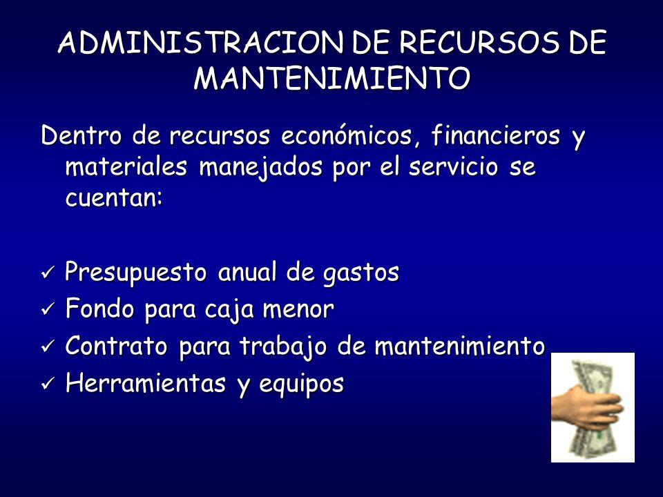 ADMINISTRACION DE RECURSOS DE MANTENIMIENTO