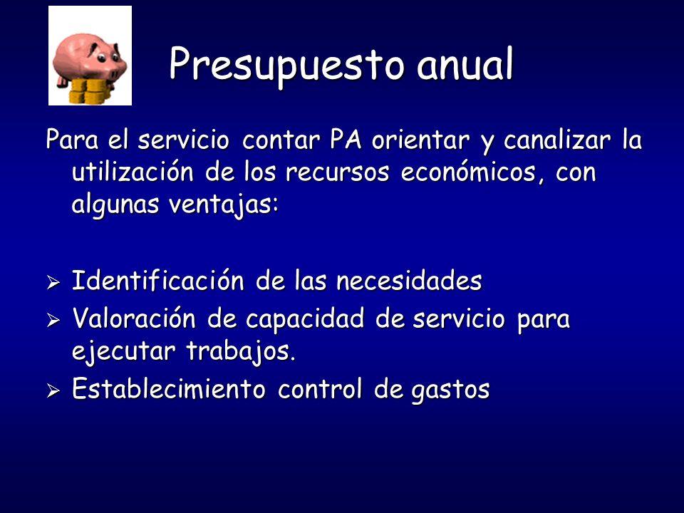 Presupuesto anual Para el servicio contar PA orientar y canalizar la utilización de los recursos económicos, con algunas ventajas: