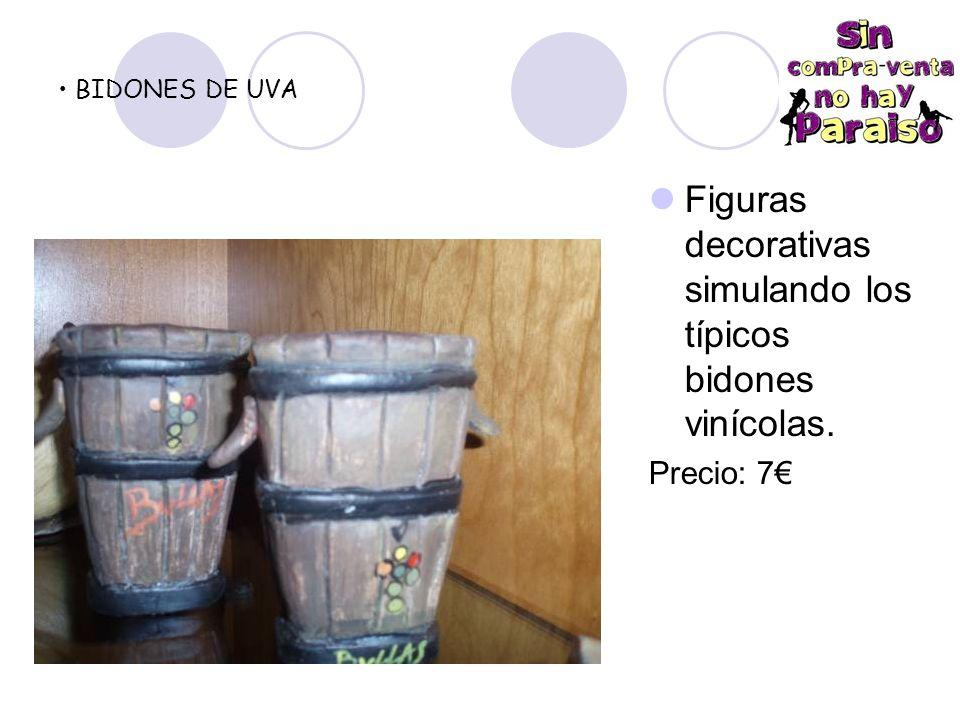 Figuras decorativas simulando los típicos bidones vinícolas.