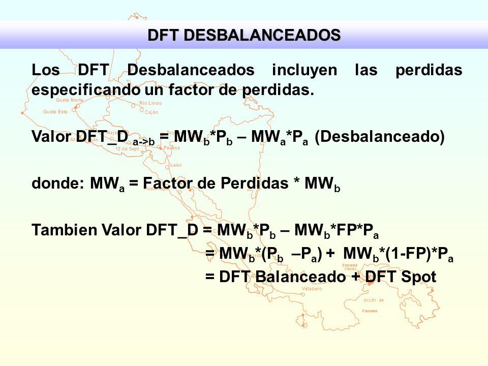 Valor DFT_D a->b = MWb*Pb – MWa*Pa (Desbalanceado)