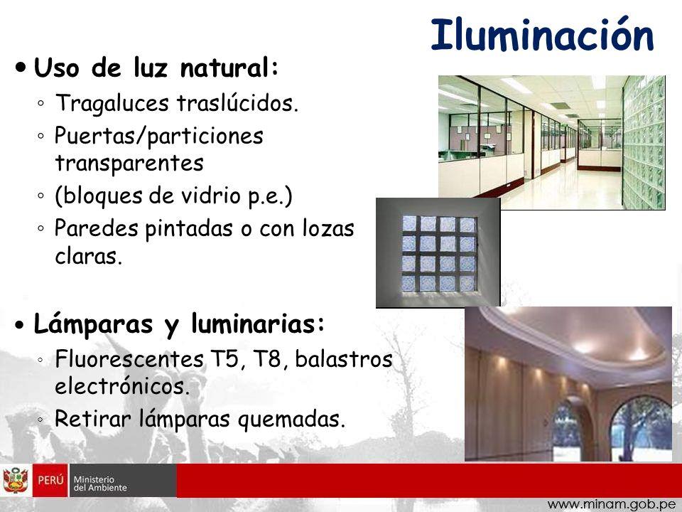 Iluminación Uso de luz natural: Lámparas y luminarias: