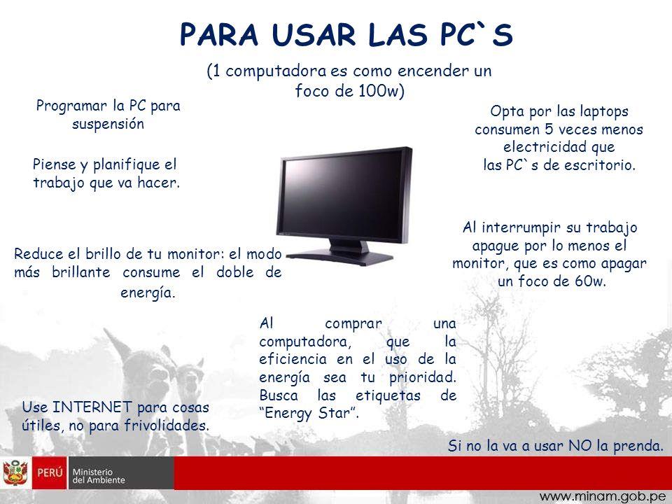 PARA USAR LAS PC`S (1 computadora es como encender un foco de 100w)