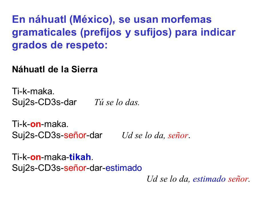 En náhuatl (México), se usan morfemas gramaticales (prefijos y sufijos) para indicar grados de respeto: Náhuatl de la Sierra Ti-k-maka.