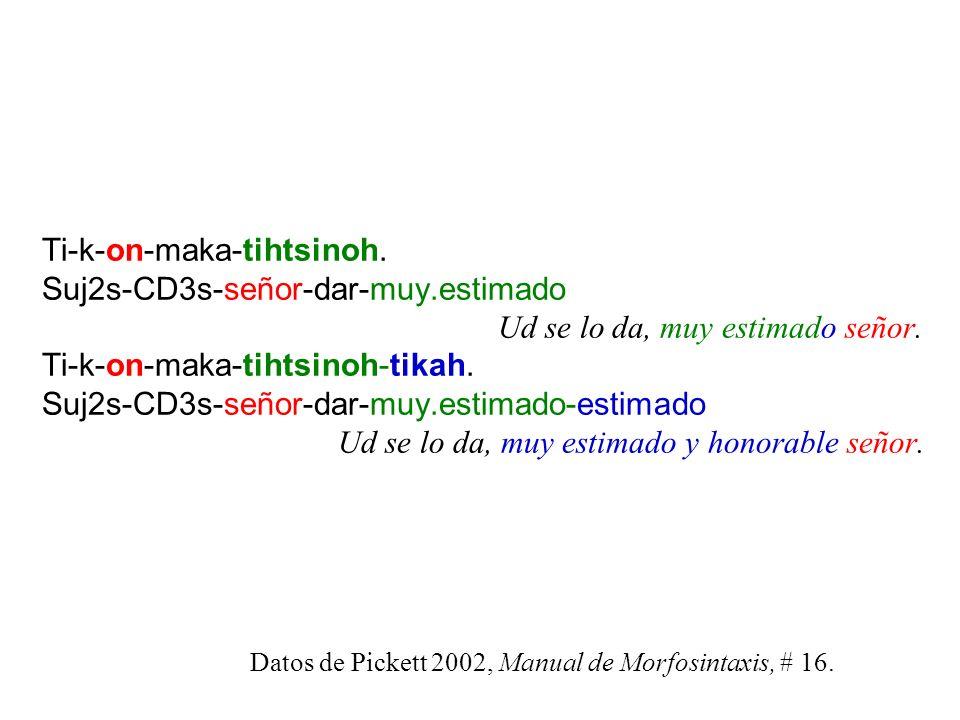 Ti-k-on-maka-tihtsinoh. Suj2s-CD3s-señor-dar-muy. estimado