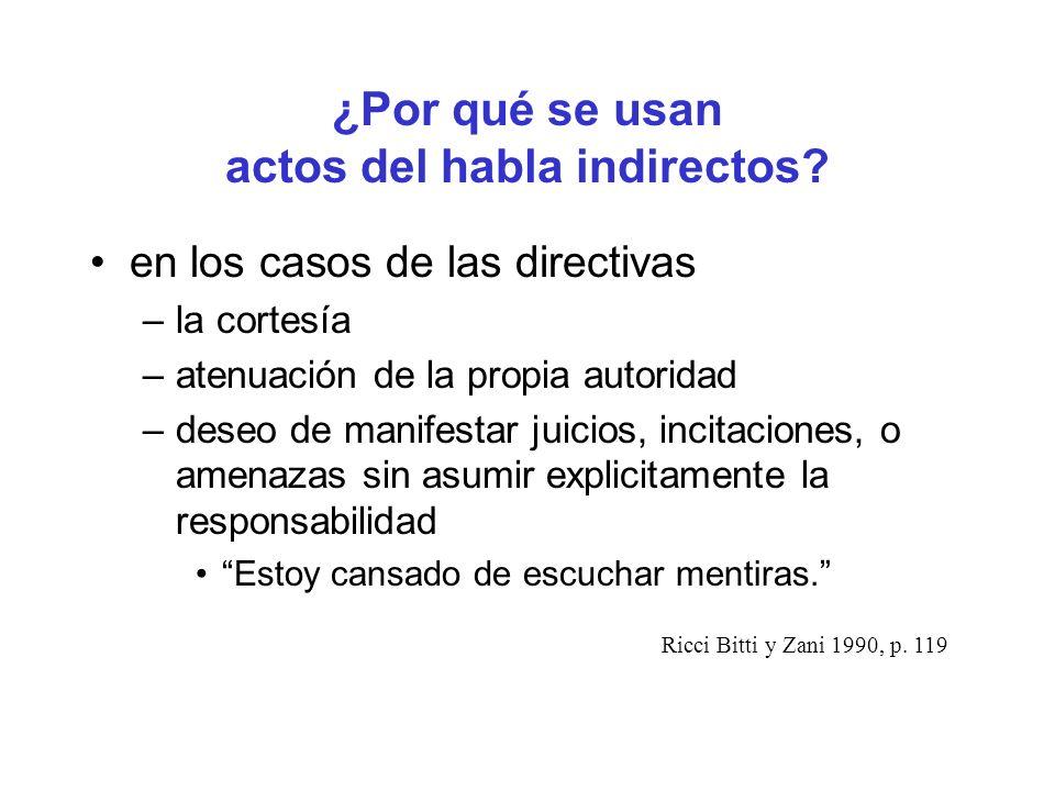 ¿Por qué se usan actos del habla indirectos