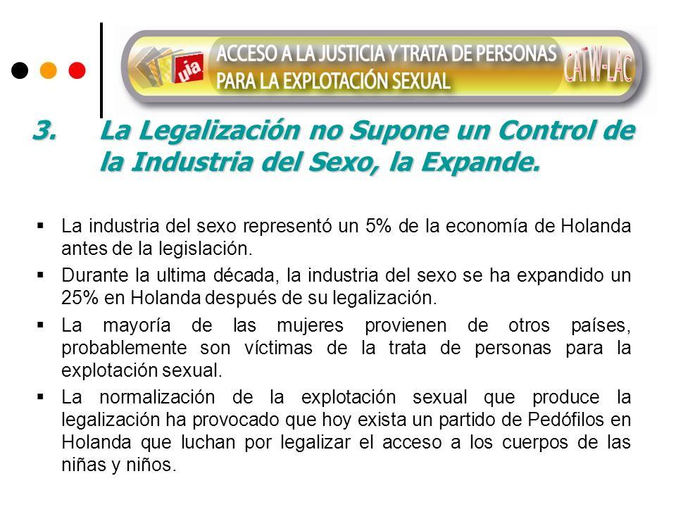 3. La Legalización no Supone un Control de