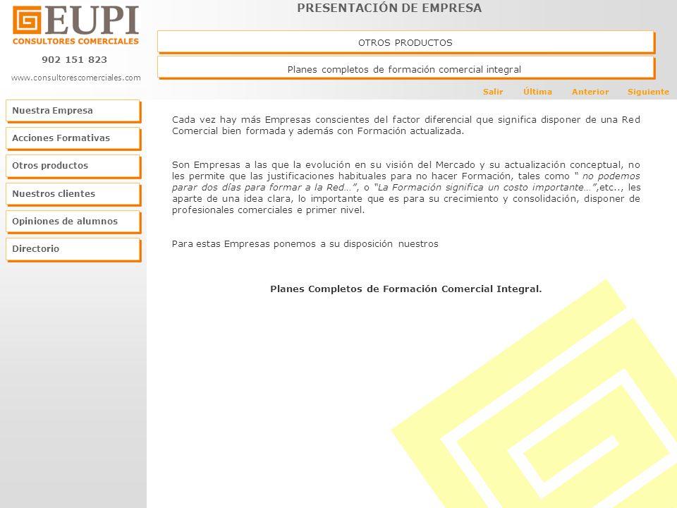 Planes Completos de Formación Comercial Integral.