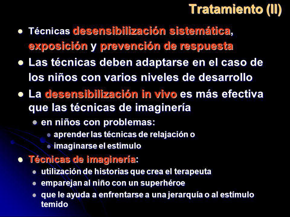 Tratamiento (II) Técnicas desensibilización sistemática, exposición y prevención de respuesta.