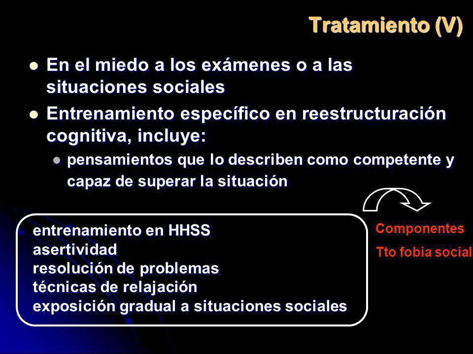 Tratamiento (V) En el miedo a los exámenes o a las situaciones sociales. Entrenamiento específico en reestructuración cognitiva, incluye: