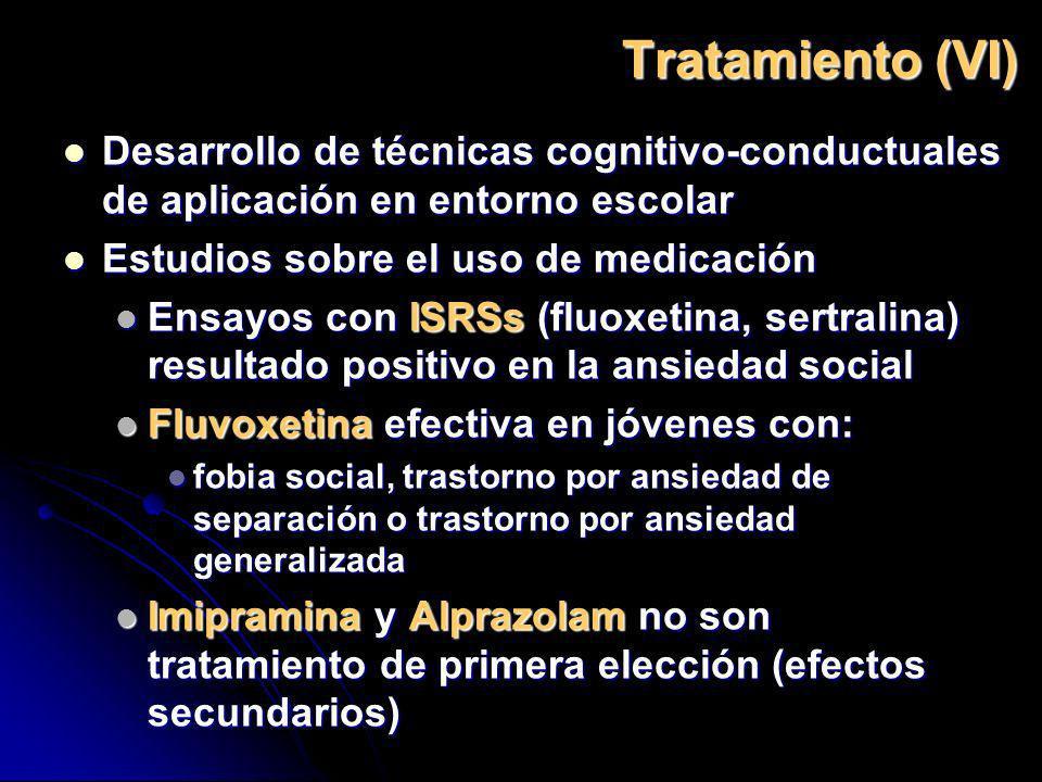 Tratamiento (VI) Desarrollo de técnicas cognitivo-conductuales de aplicación en entorno escolar. Estudios sobre el uso de medicación.