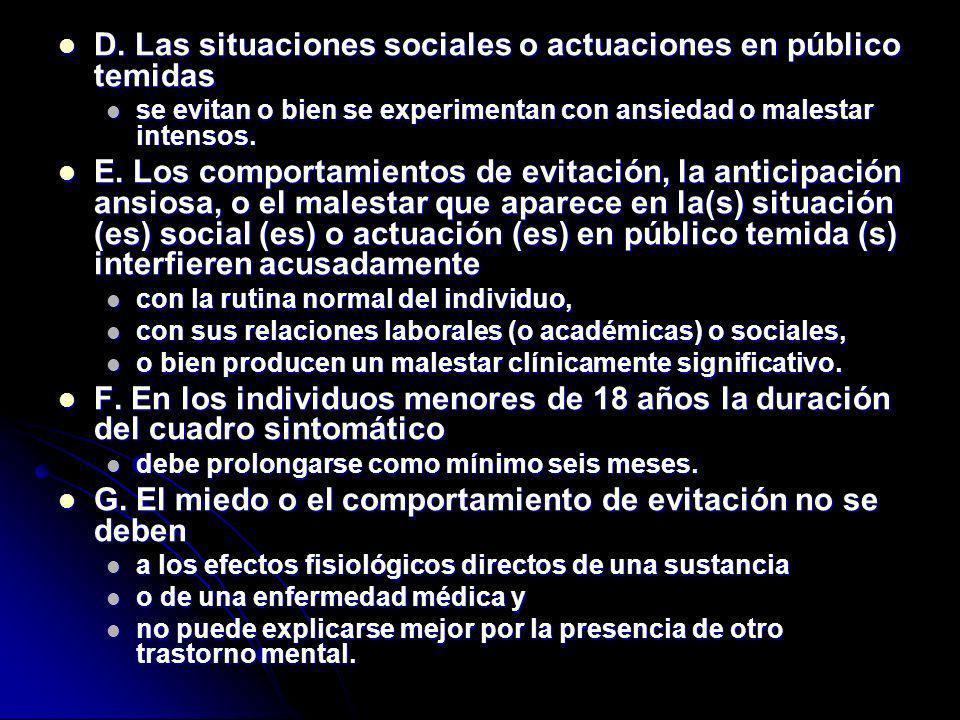 D. Las situaciones sociales o actuaciones en público temidas