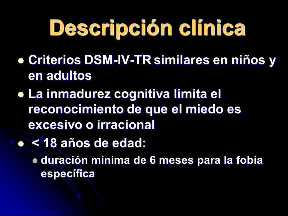 Descripción clínica Criterios DSM-IV-TR similares en niños y en adultos.