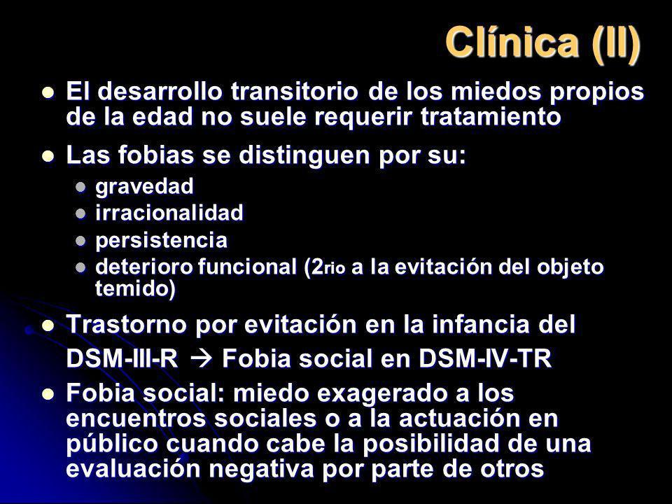 Clínica (II) El desarrollo transitorio de los miedos propios de la edad no suele requerir tratamiento.