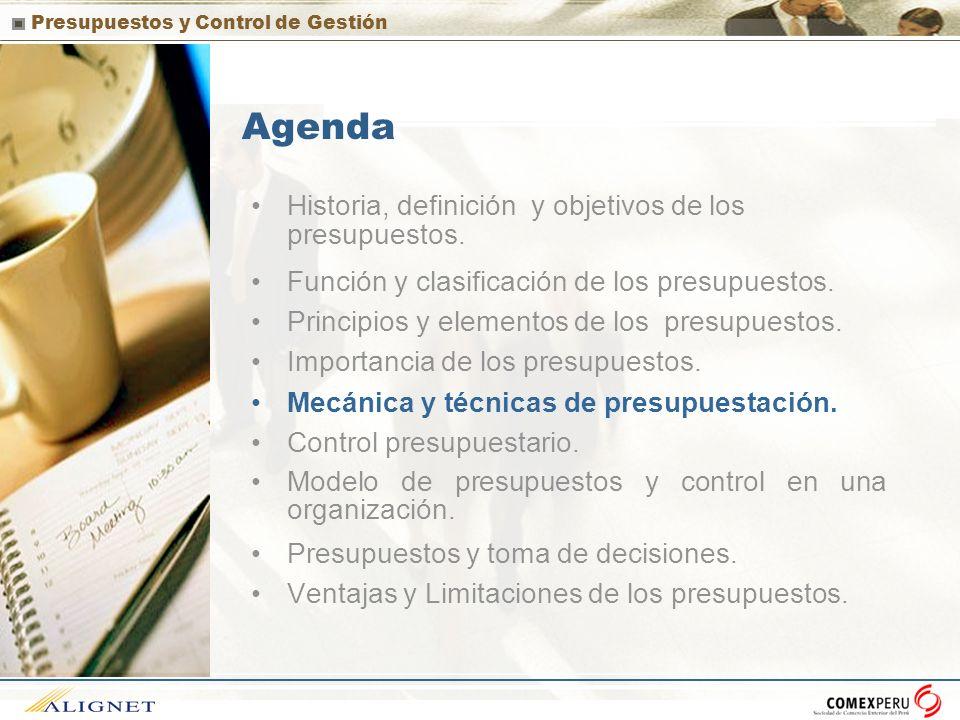 Agenda Historia, definición y objetivos de los presupuestos.