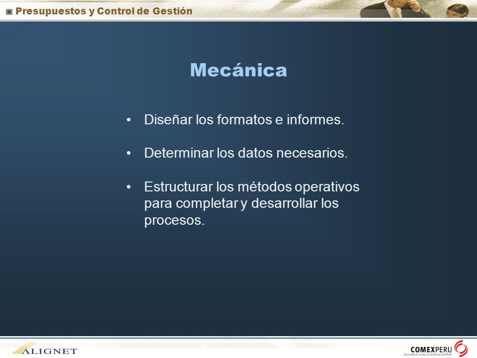 Mecánica Diseñar los formatos e informes.