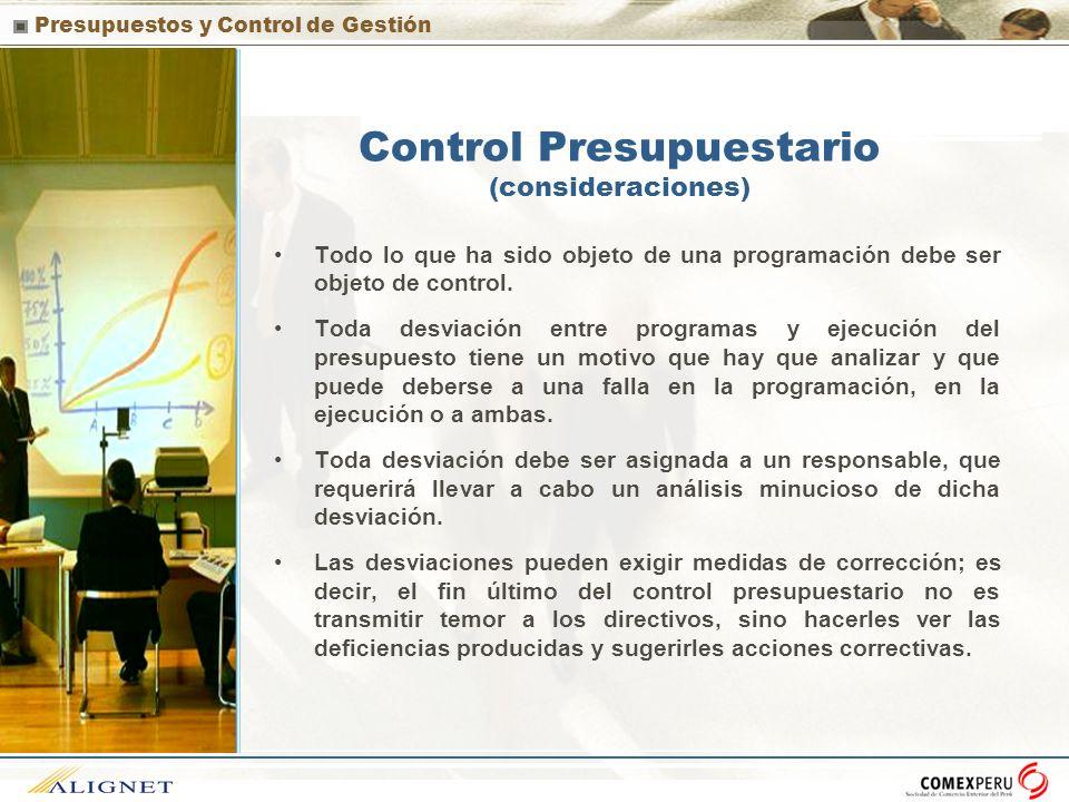 Control Presupuestario (consideraciones)