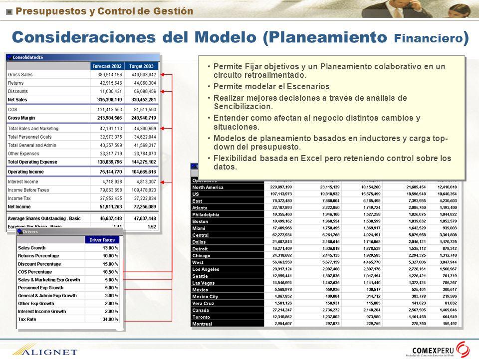 Consideraciones del Modelo (Planeamiento Financiero)