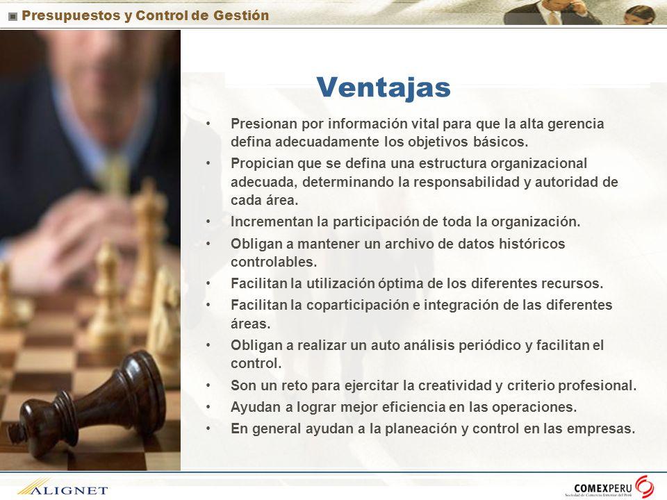 Ventajas Presionan por información vital para que la alta gerencia defina adecuadamente los objetivos básicos.