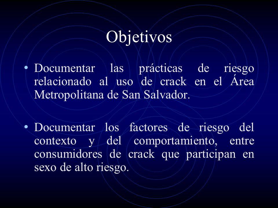 Objetivos Documentar las prácticas de riesgo relacionado al uso de crack en el Área Metropolitana de San Salvador.