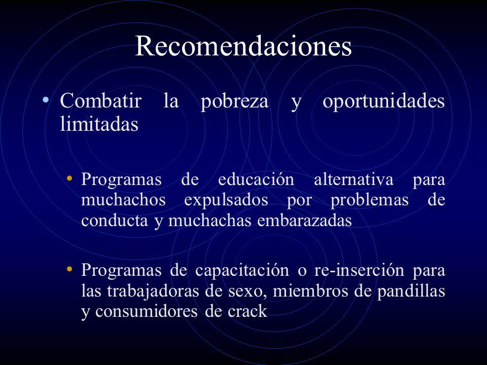 Recomendaciones Combatir la pobreza y oportunidades limitadas