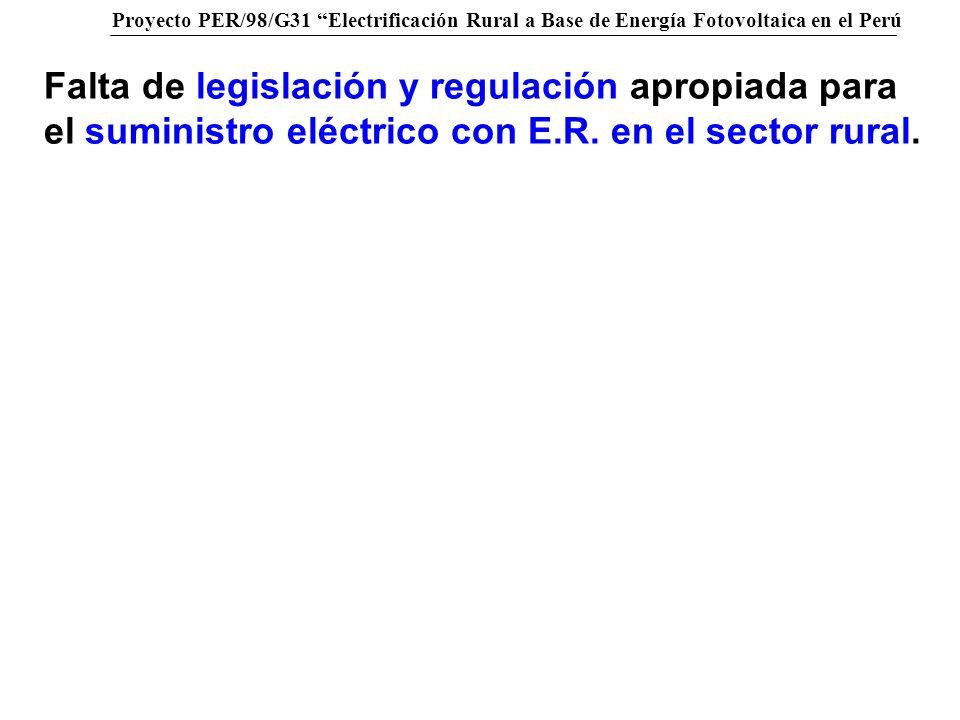 Falta de legislación y regulación apropiada para el suministro eléctrico con E.R.
