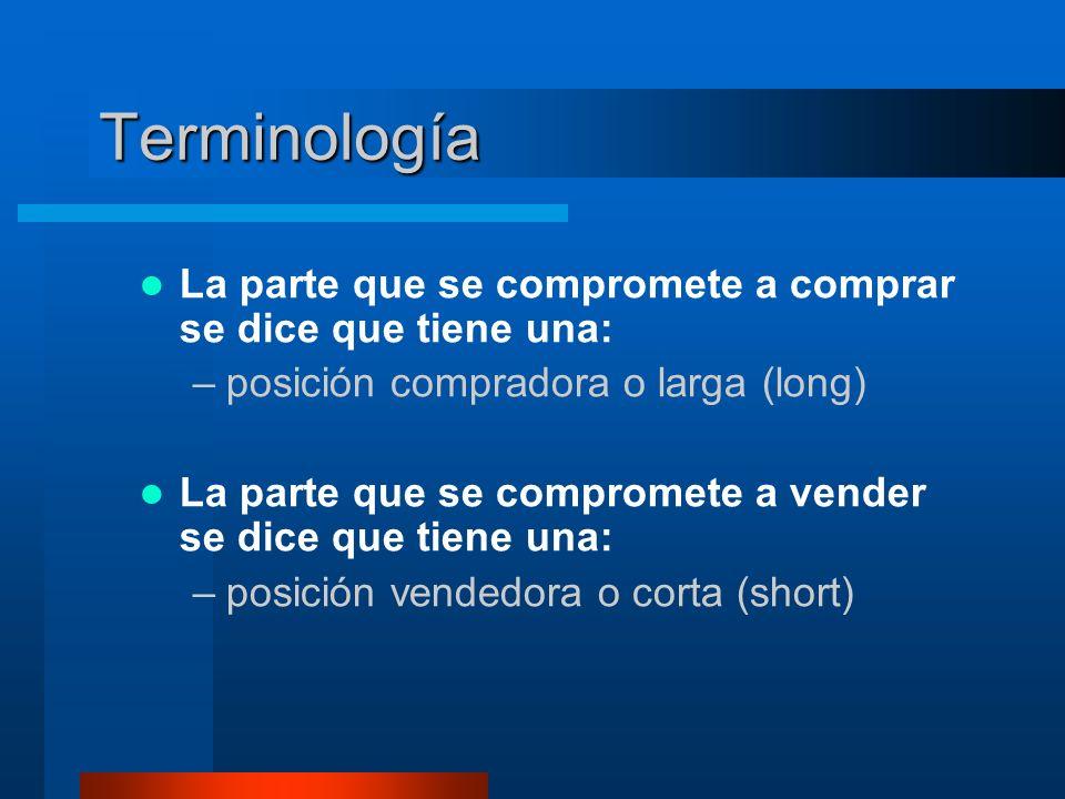 Terminología La parte que se compromete a comprar se dice que tiene una: posición compradora o larga (long)