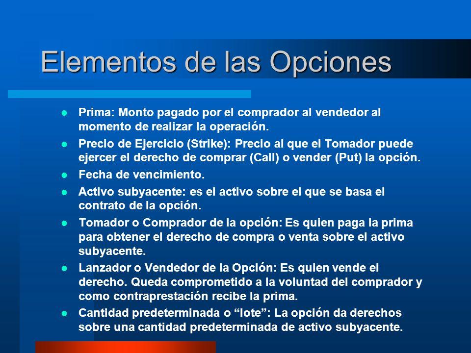 Elementos de las Opciones