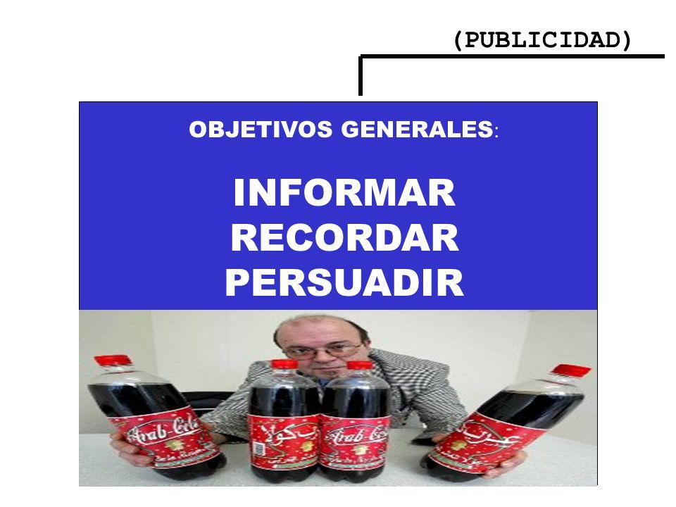 (PUBLICIDAD) OBJETIVOS GENERALES: INFORMAR RECORDAR PERSUADIR