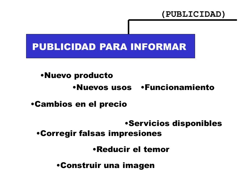 PUBLICIDAD PARA INFORMAR PUBLICIDAD PARA INFORMAR: