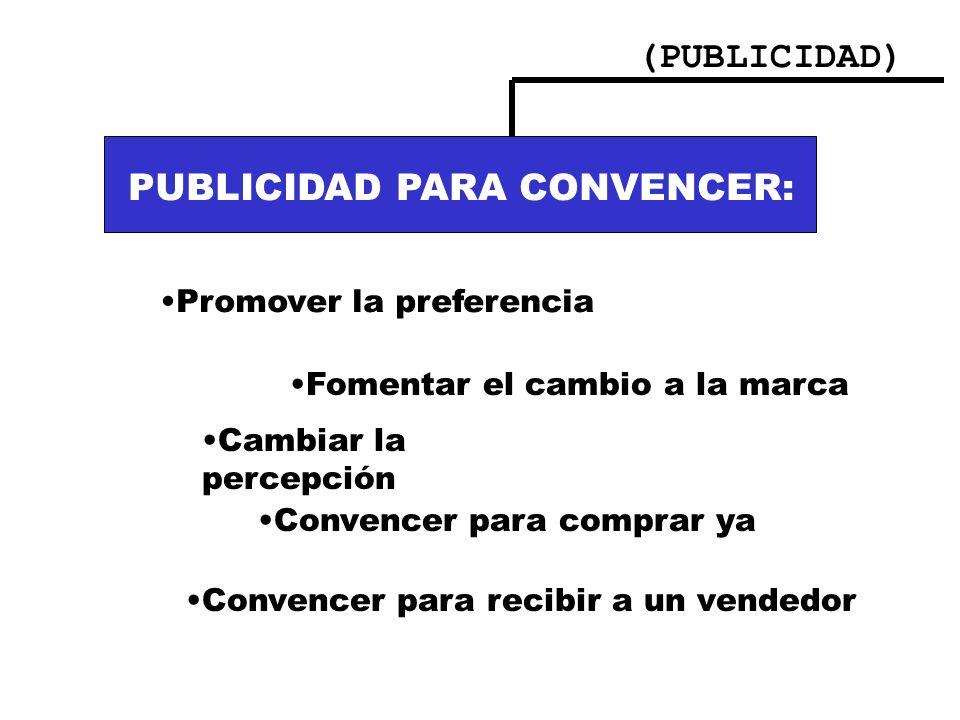 PUBLICIDAD PARA CONVENCER: PUBLICIDAD PARA INFORMAR: