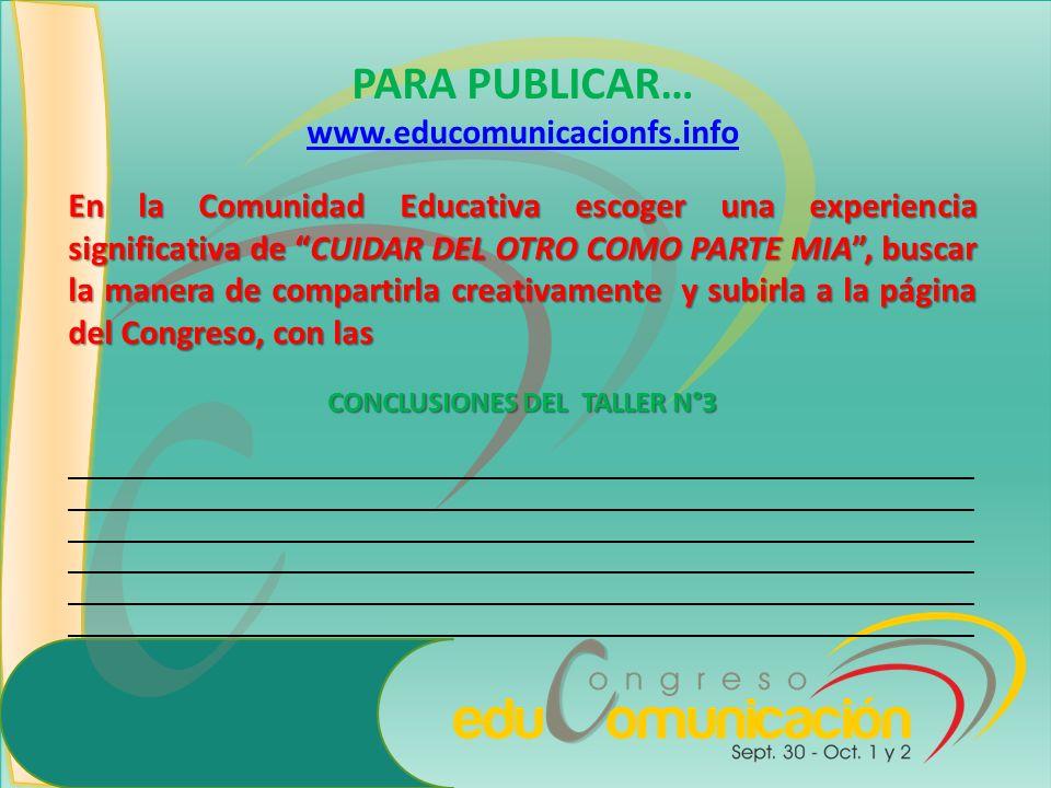 CONCLUSIONES DEL TALLER N°3