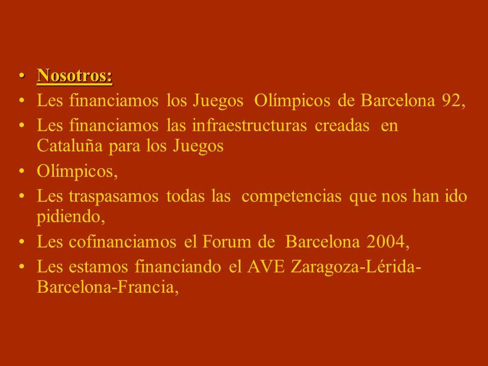 Nosotros: Les financiamos los Juegos Olímpicos de Barcelona 92, Les financiamos las infraestructuras creadas en Cataluña para los Juegos.