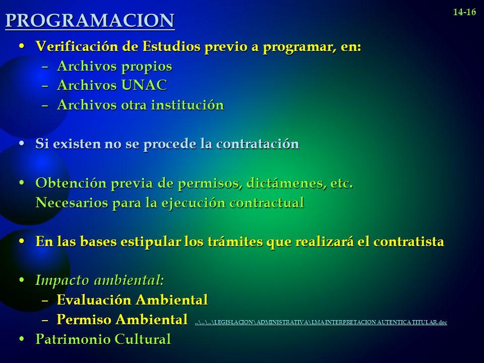 PROGRAMACION Verificación de Estudios previo a programar, en: