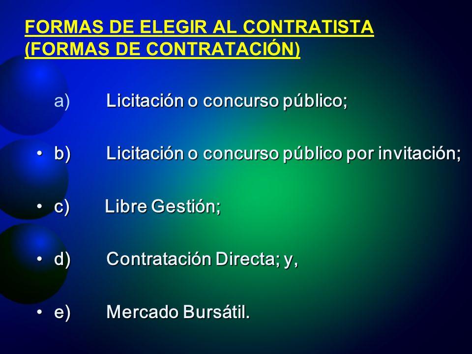 FORMAS DE ELEGIR AL CONTRATISTA (FORMAS DE CONTRATACIÓN)